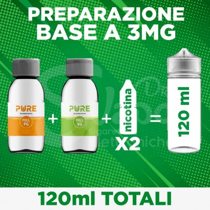 Kit Base Neutra nicotina 3mg 120ml - 70/30 PURE